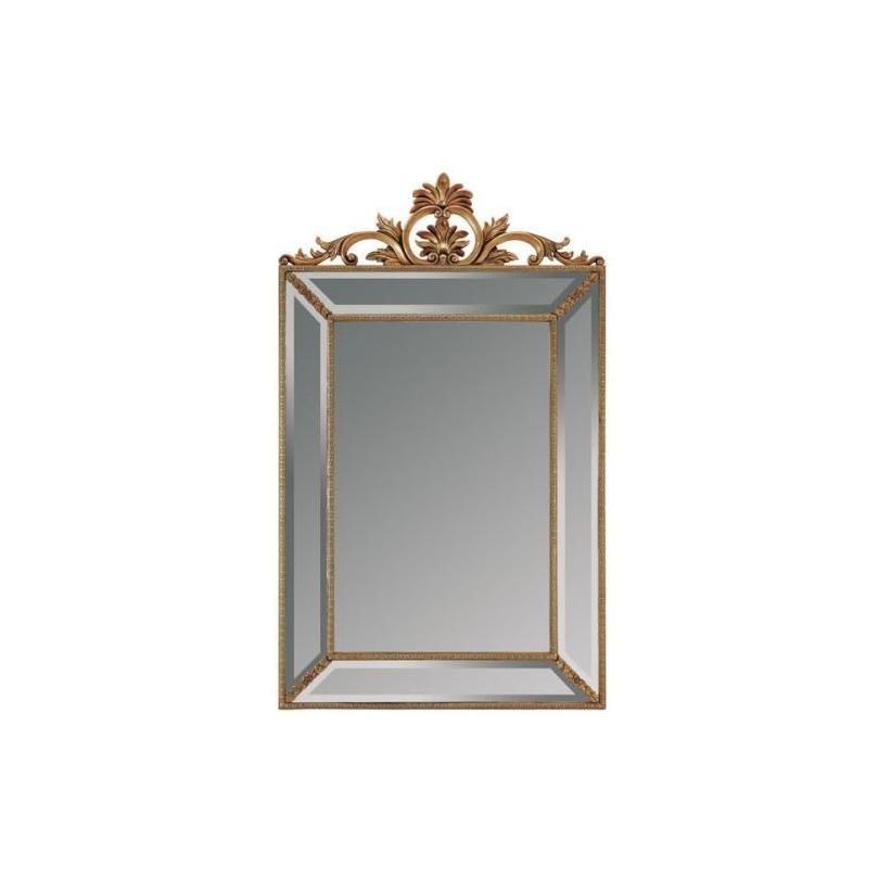 Miroir à parcloses rectangulaire avec fronton