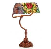 Lampe de bureau style Tiffany, décor fleur rouge