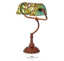 Lampe de bureau style Tiffany, décor fleurs vert