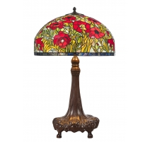 Lampe style Tiffany, abat-jour coquelicots