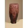 Vase en pate de verre et fer forgé signé LORRAIN