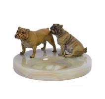 Cendrier en onyx surmonté de deux chiens