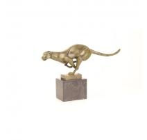 Bronze guépard courand, socle en marbre noir