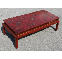 Table basse chinoise en laque rouge