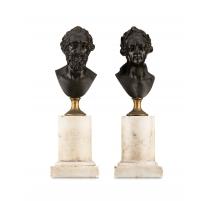 Paire de bustes en bronze Henri IV et Louis XV