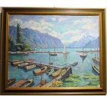 """Tableau """"Port de Clarens"""" signé Ric BERGER"""