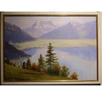 """Tableau """"Vue du bout du Lac"""" signé E.D. de MADELIN"""