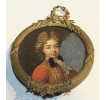 "Petit cadre rond Napoléon III en laiton ""Couronne"""