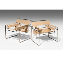 """Paire de fauteuils """"Wassily"""" B3 de Marcel Breuer"""
