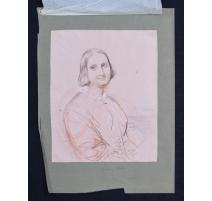 """Dessin """"Portrait d'une femme en demi-buste"""""""