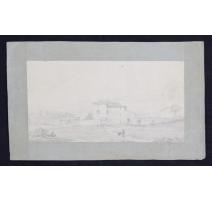 """Dessin """"Maison"""" signé E. REY 1824"""