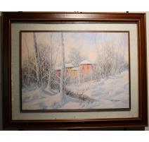 """Tableau """"Paysage de neige"""" signé D. LAZZARO"""