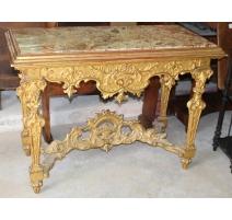 Console italienne en bois sculpté doré