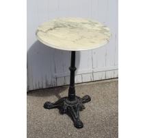 Table de bistrot ronde en fonte et marbre blanc
