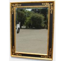Miroir rectangulaire en bois noir et doré