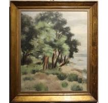 """Tableau """"Bord du Lac"""" signé Marguerite PELLET 1951"""