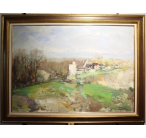 "Tableau ""Campagne Vaudoise"" signé GROUNAUER"