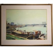 """Gouache """"La Seine à Paris"""" signé R. VUILLEM"""