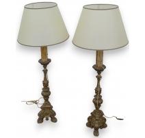 Paire de piques cierges, lampe