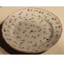 Assiette en porcelaine fleurs rose et vertes