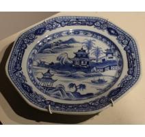 Assiette octogonale en porcelaine chinoise