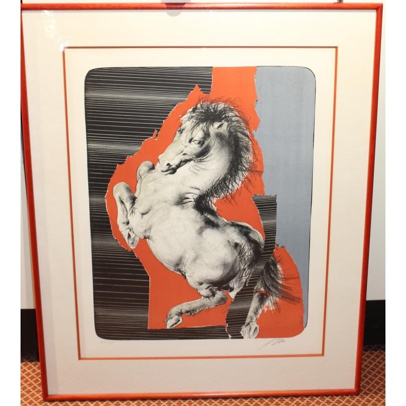 """Lithographie """"Cheval cabré"""" signée ERNI 76"""