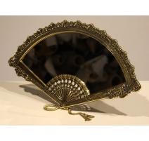 Miroir de table éventail en laiton poli