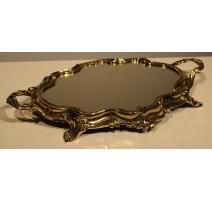 Plateau miroir baroque en laiton poli, grand