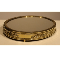 Plateau miroir ovale en laiton poli