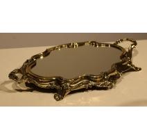 Plateau miroir baroque en laiton poli, moyen