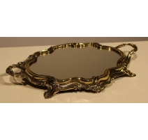 Plateau miroir baroque en laiton poli, petit