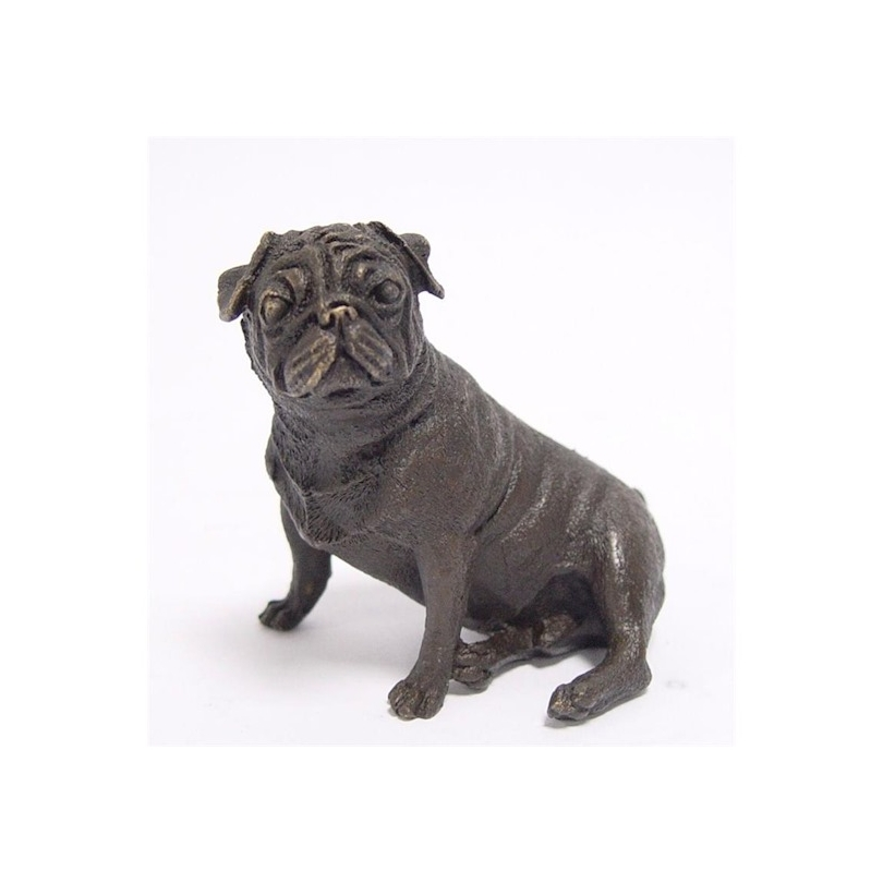 Petit Carlin assis en bronze