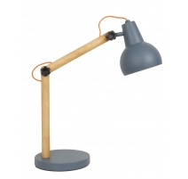 Lampe Study en chêne et fer bleu