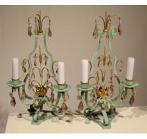 Paire de girandoles Louis XV bronze vert