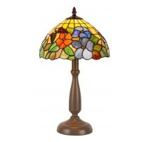 Lampe style Tiffany, décor papillon et fleurs