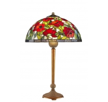 Lampe style Tiffany, décor coquelicots