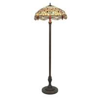 Lampadaire style Tiffany, abat-jour Libellules