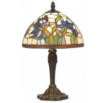 Lampe style Tiffany, décor papillon et iris