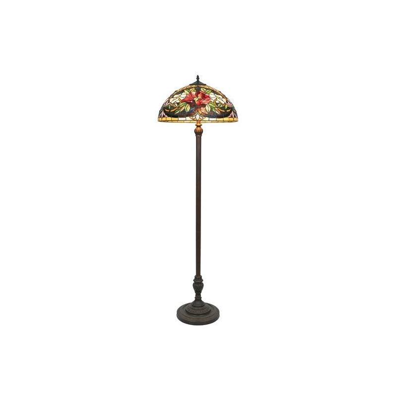 Lampadaire style Tiffany, abat-jour Fleur rouge