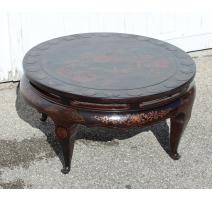 Table basse ronde chinoise en laque noire