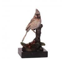 Bronze polychrome Cardinal, socle en marbre