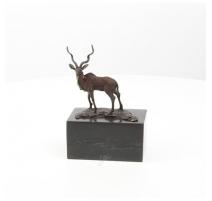 Bronze polychrome Impala, socle en marbre