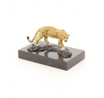 Bronze polychrome Jaguar, socle en marbre