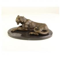 Bronze Léopard couché, socle en marbre ovale
