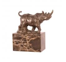 Bronze Rhinocéros marchant socle en marbre