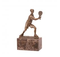 Bronze Joueur de tennis socle en marbre