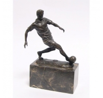 Bronze Joueur de football socle en marbre