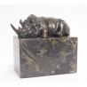 Bronze Rhinocéros couché socle en marbre