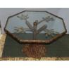 Table basse en bronze, plateau verre par BANCI