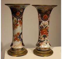 Paire de vaes Gu en en porcelaine Imari